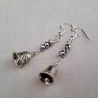 Sparkly silver Christmas bell earrings
