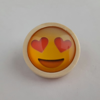 Emoji brooch in wooden setting 002
