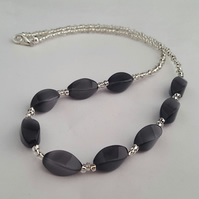 Smokey grey and silver bead necklace - 1002313