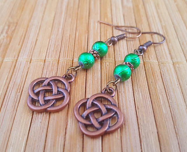 Celtic knot earrings - copper and emerald green