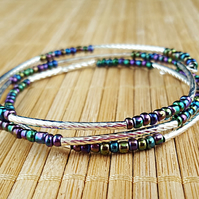 Iris lustre seed bead and silver tube wrap bracelet - 2001383