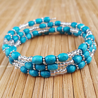 Turquoise and silver wooden bead wrap bracelet - 2001384