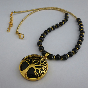 Black agate tree of life necklace - 1002366