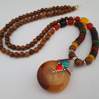 Long wooden beaded bohemian necklace - 1002416