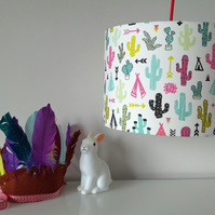 Hand Rolled 30cm Drum Lampshade in cute LittleSmileMakers Colour Cactus Fabric