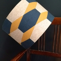 New! 30cm Drum Lampshade in Gorgeous Navy Mustard Mid Century Modern Print