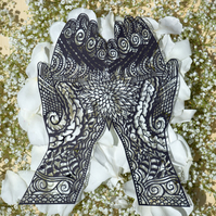 Hand cut Mehndi patterned hands