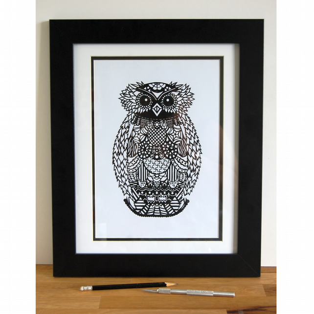 The Wide-eyed Owl - A4 Print