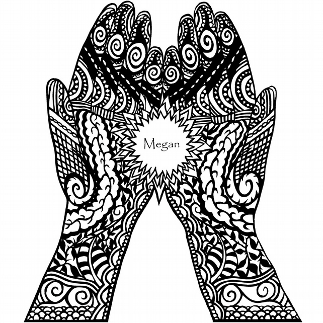 Personalised Mehndi decorated hands A4 Print