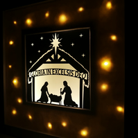 Personalised Nativity Papercut with Fairy lights