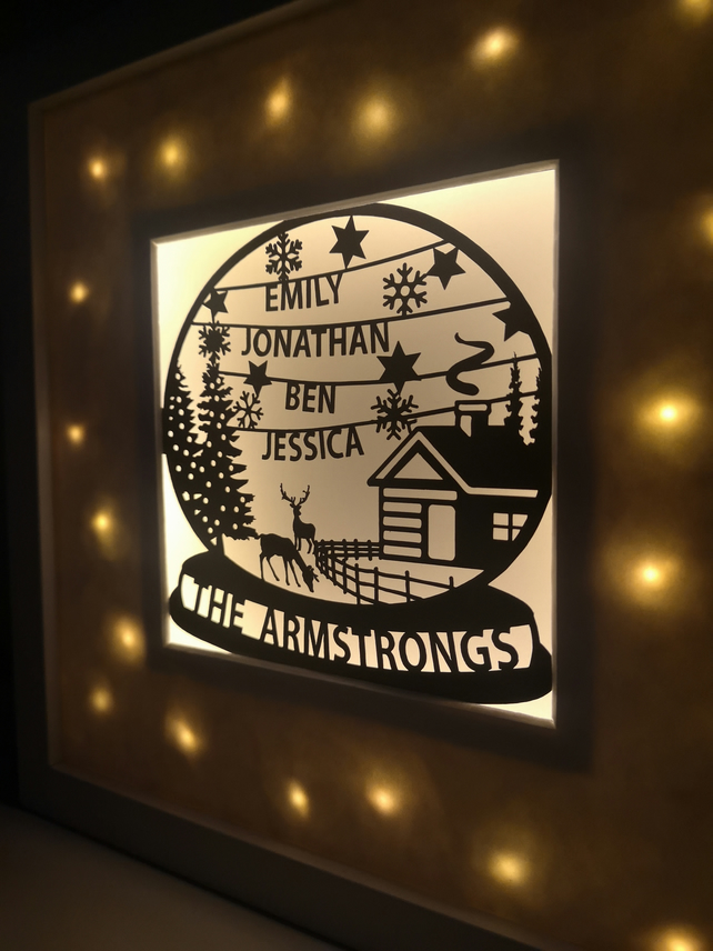 Personalised Snow Globe Christmas Papercut with Fairy Lights