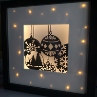 Fairy lit Christmas Baubles Papercut