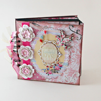 Pink Scrapbook Album, Floral Photo Album, Mini Album, Memory Book, Gift Idea