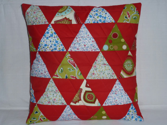 Red Triangle Cushion