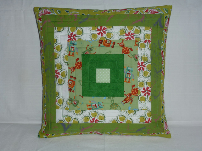 Green Log Cabin Cushion