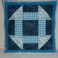 Blue Churn Dash Cushion