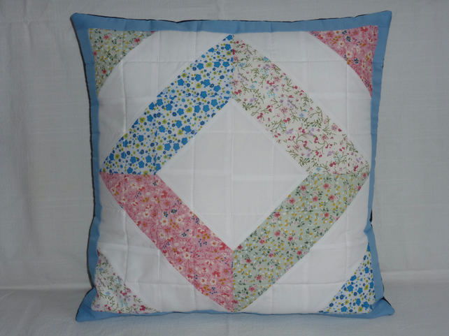 Pretty floral patchwork cushion