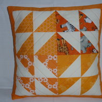 Orange Patchwork Cushion