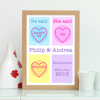 Love Heart Personalised Engagement Print - Engagement Gift - He Said She Said