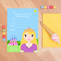 Princess Party Invites - Set Of 10 Girls Birthday Party Invitations