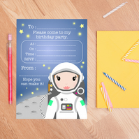 Girl Astronaut Birthday Party Invitations - Set Of 10 Girls Party Invites