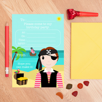 Pirate Birthday Party Invitations - Set Of 10 Boys Party Invites