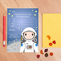 Boy Astronaut Birthday Party Invitations - Boys Space Party Invites