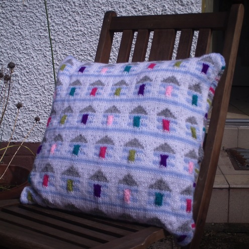 Beach Huts Cushion Cover Knitting Pattern Folksy