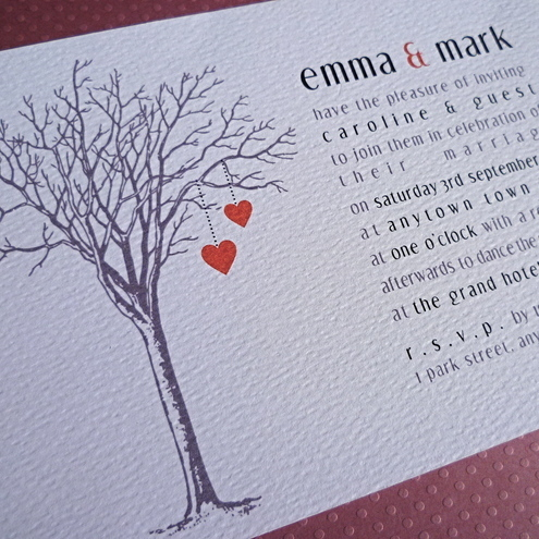 SAMPLE PRICE Tree of Hearts Wedding Invitation