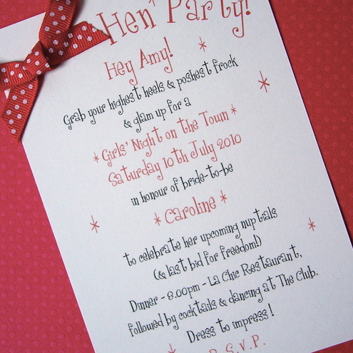 Hen Party Invites FiftiesInspired Pack of 6 Folksy – Hen Party Invitation
