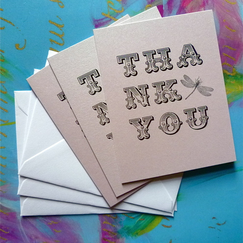 'A little thank you' Pack of 3 cards - Lilac