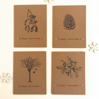 Pack of 4 Vintage inspired Brown Kraft Xmas Cards