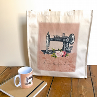 Vintage Sewing Machine Tote Bag Eco-Friendly Shopper Project Bag