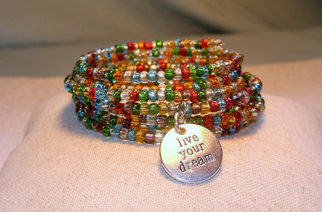 "Double Memory Wire Bangle with  "" Live Your Dream "" Charm"