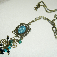 OOAK Steampunk Style 3d Bronze & Turquoise Necklace Cosplay