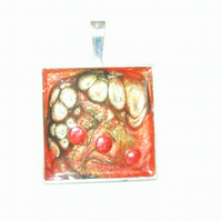 Unique  Square Pendant Orange & Green FREE UK post