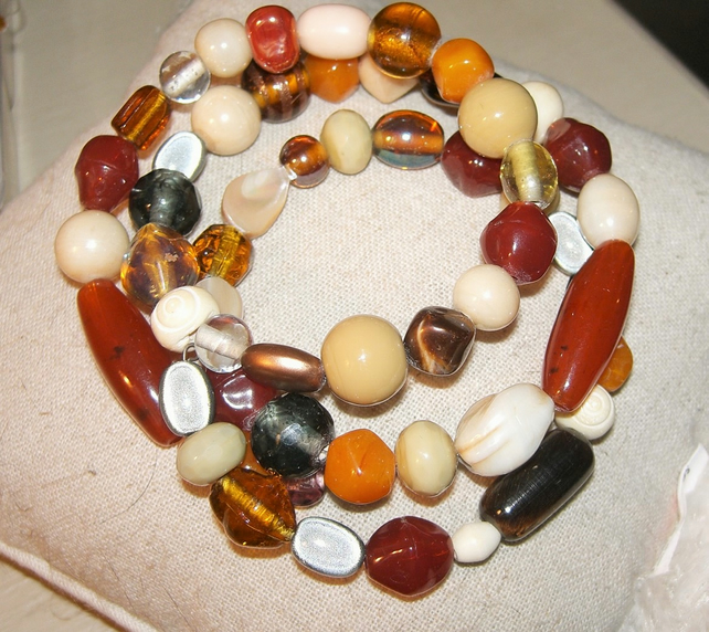 Warm Glass Bead Memory Wire Bracelet