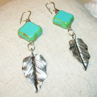 Turquoise & Silver Leaf Drop Earrings FREE UK Post