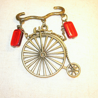 Vintage Style Penny Farthing Brooch FREE UK Post