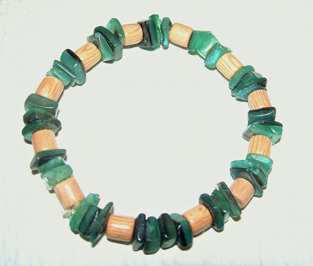 Rosewood & Shell Stretchy Bracelet