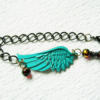 Turquoise Angel Wing Bracelet FREE UK Post