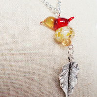 Red & Yellow Bird Pendant FREE UK post