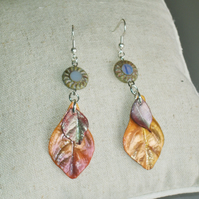 Handcrafted Leaf Earrings FREE UK Post