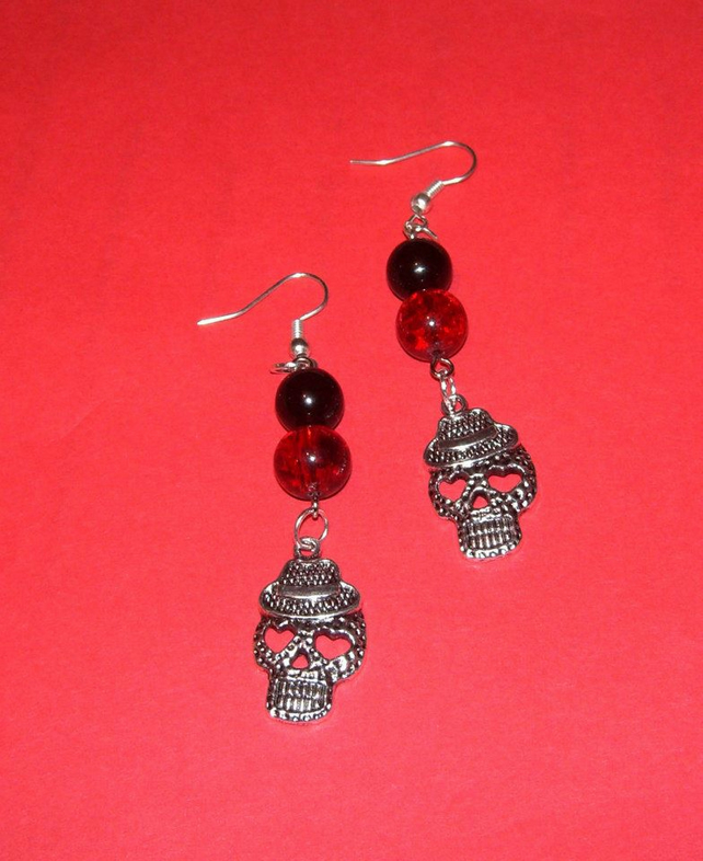 Skull earrings Red and Black FREE UK Post