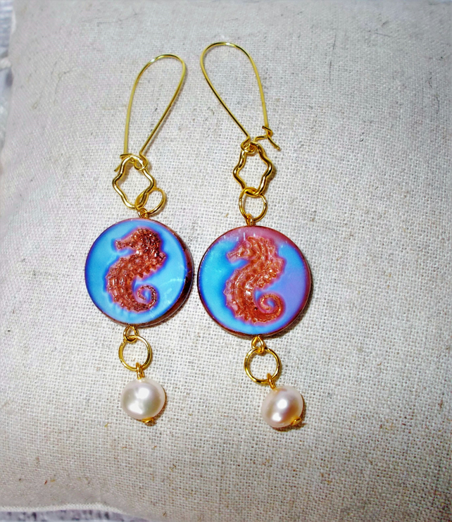 Czech Seahorse Earrings Blue with Pearls