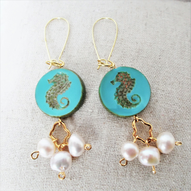 Czech glass green Seahorse earrings with Pearls