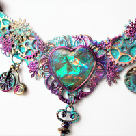 Steampunk Purple Green  Necklace  Cosplay