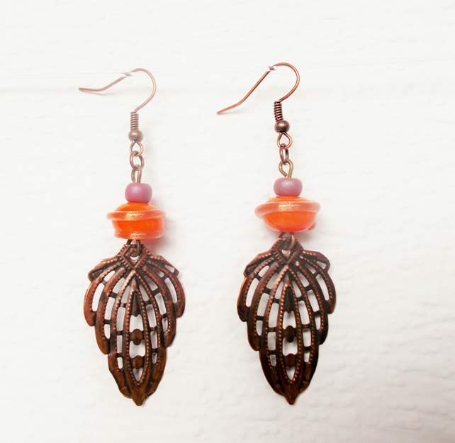 Orange & Copper Drop Earrings