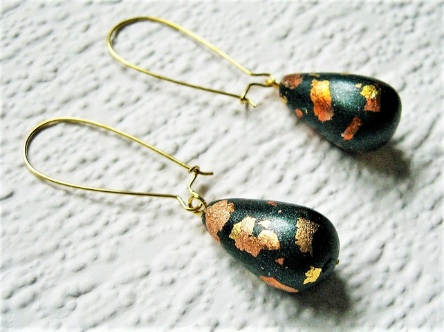 Brown Gold & Copper Earrings