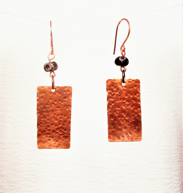 Copper and Purple Agate Earrings FREE UK Post